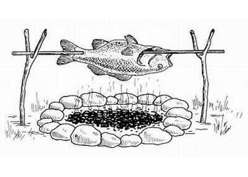 Рыба запеченная на костре, в глине, бумаге, фольге, земле, песке, на камне и вертеле