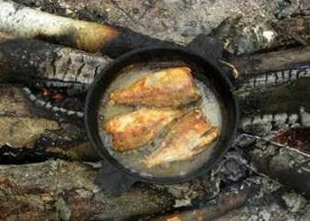 Рыба в сковороде на углях